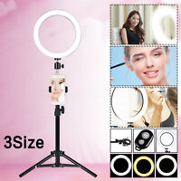 10'' Dimmable LED Makeup Ring Light Stand Phone USB Video Live Lamp Bulb Control