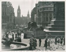 LONDRES c.1950 -Autos Rue animée Statues Lion Trafalgar Square Angleterre- GF674