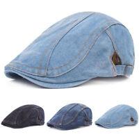 Men Striped Blue Denim Golf Driving Cap Adjustable Newsboy Beret Casual Hat
