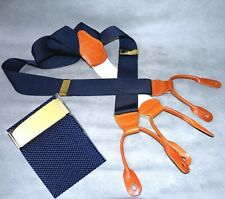 BEAUTIFUL BROOKS BROS.SUSPENDERS NAVY BLUE HUDSON BRASS CLASP TAN LEATHER