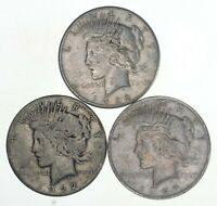 (3 Coins) US Peace Silver Dollar Collection 1922-1935 Era Lot 90% Coin Cull