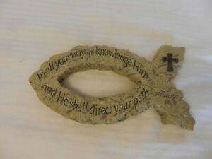 Resin Christian Fish Wall Sign with Cross, Tan Proverbs 3:6 Quotation