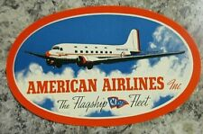 AMERICAN  AIRLINES *Vintage Oval LUGGAGE LABEL*Original Glue*The FLAGSHIP FLEET