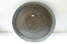 Antique Old Solid Copper Floral Design Fully Carved Wall Hanging Plate NH5129