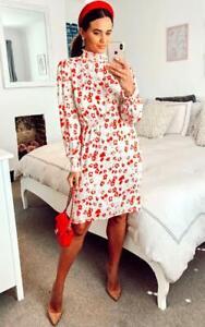 Women Ladies New Midi Red Floral Ruffle Neck Long Sleeve Dress UK 8-16