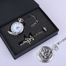 Fullmetal Alchemist Snake Silver Pocket Watch Ring Necklace Cosplay 3pcs Set New