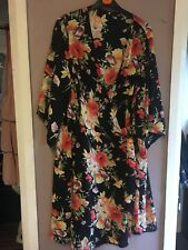V by Very Black/Multi Floral Kimono Sleeve Wrapover Dress Size 22