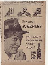 1953 newspaper ad for Schenley Whiskey, fly fisherman enjoys a glass, best taste