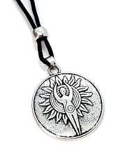 Spiral Sun Moon Earth Gaia Goddess Pendant Cord Bead Necklace Pagan Wiccan