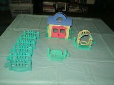 Fisher Price Little People Lot of Teal Garden Fence Pieces Play House Swing