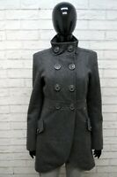 BYFFALO LONDON Cappotto Donna Size 42 Jacket Giacca Giubbino Trench Lana Grigio