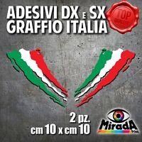Adesivi Sticker GRAFFIO ITALIA ITALY FLAG BANDIERA DXeSX MOTO AUTO 10x10 2 PZ.