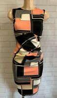 Black Geometric Ruch Front Wiggle Pencil Smart Office Shift Dress Size 8-18
