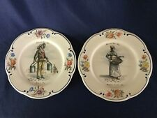 "2 French Plates 9 1/2"" Metiers de Vieux Paris - Water Carrier and Fruit Seller"