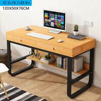 Computer Desk Office Workstation PC Laptop Table W/Storage Shelf w/2 Drawer.