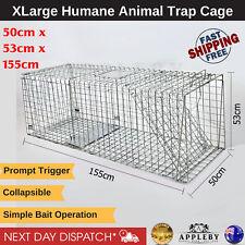 XL Large Animal Pest Trap Cage Humane Live Catch Safe Fox Cat Dog 155x50x53cm