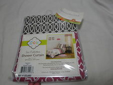 New Cocalo Iris Collection Fabric Shower Curtain 71x71 Pink Brown & White Nip