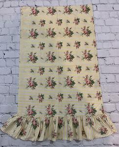 1 Ralph Lauren Home Standard Pillowcase Yellow Floral Roses Stripes Ruffle USA