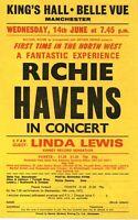 Richie Havens - 1972 vintage concert flyer. King's Hall Manchester. Linda Lewis.