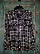Women's Plus Torrid Light Weight Black & White Plaid Shirt Western Fitted 0 42B