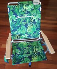 New listing Tommy Bahama Backpack Beach Chair Floral 5 Positions Wooden Arms 250lbs Lay Flat