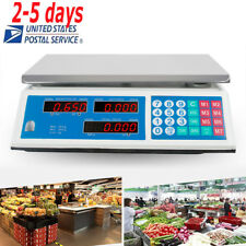 66LB Digital Weight Scale Price Computing Food Meat Produce Deli Market 【US SALE