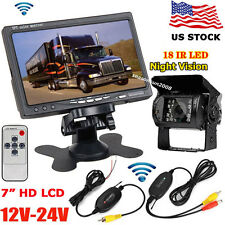 "7"" Wireless HD Digital LCD Monitor +Bus Truck Trailer IR Backup Rear View Camera"