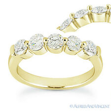 Round Cut Moissanite 14k Yellow Gold Single-Prong Anniversary Ring Wedding Band