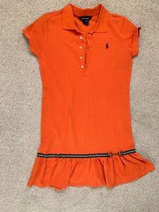 Ralph Lauren Girls Polo Style Ruffled Hem Shirt Dress