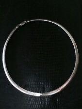 Vintage Sterling Silver .925 Modernist Omega Link Collar Necklace  18 in. 30 gm
