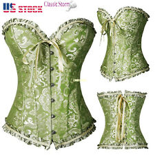 Women Laced Up Boned Brocade Overbust Corsets Bustier Top Waist Training Shapers