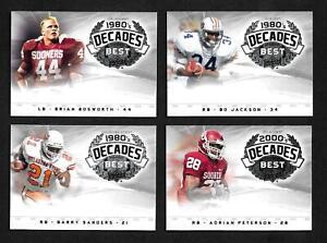 no2011 Upper Deck College Football Legends Decade's Best Complete 40 Card Set