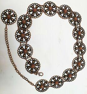 Woman's Girls Adjustable Waist Metal Belt Fashionable With Brown Stones