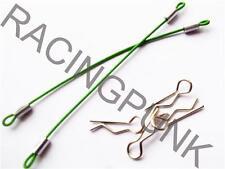 Coche Rc 1/10 Body Shell Body Clips seguro Pins & cable de liberación rápida Corto Verde
