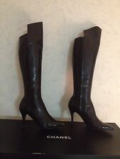 AUT CHANEL BLACK LEATHER KNEE HIGH BOOTS SIZE 37.5/7.5B