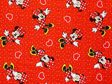 FAT QUARTER DISNEY MINNIE MOUSE HEARTS & POLKA DOT SPRING CREATIVE COTTON FABRIC