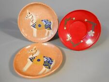 Lot 3 China Chinese Plates 2 Pottery Horse Tang San Cai & 1 Red Lacquer 20th c.