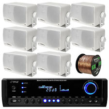 "Marine 3.5"" White Box Speakers, 100FT Speaker Wire, Pyle Bluetooth USB Amplifier"