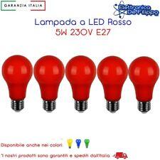 5 Pz. Lampada Led 230V 5W E27 Colore Rosso ideale per giardino bar locale