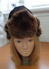 MINT NATURAL BROWN MUSKRAT FUR HAT CAP WOMEN WOMAN SIZE ALL