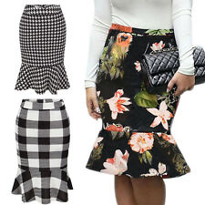 Womens Mermaid Pencil Skirt Vintage Casual Work Fishtail Cocktail Party Floral