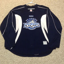 ST JOHN'S ICE CAPS GAME USED WORN WHITE AND BLUE PRACTICE JERSEY (S)