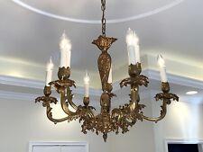 Antique French Rococo Gilt Bronze Chandelier w 9 Lights