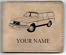 Volvo 240 Wagon Leather Billfold With Drawing & Your Name On It-Nice Quality