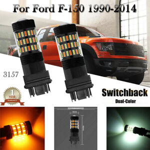 For Ford F 150 1990-2014 Switchback 3157 4157 LED Front Turn Signal Light 2Pcs