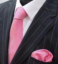 Men's Tie & Handkerchief Set Pink LUC32