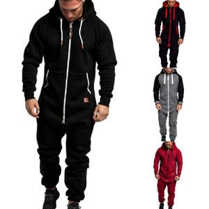 Men One Piece Tracksuit Jogging Hoodie Coat Pants Jumpsuit Jogger Gym Sweat Suit