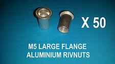 50 X ALUMINIUM RIVNUTS M5 NUTSERT RIVET NUT LARGE FLANGE NUTSERTS RIVNUT RIV NUT