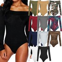 Ladies Womens Off Shoulder Long Sleeve Plain Stretch Bardot Bodysuit Leotard Top