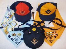 BIG LOT - 15 CUB SCOUTS items kerchiefs slides caps belt pins bookmark canteen +